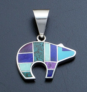 Supersmith Inc. - David Rosales Designs - Spring Mountain Inlay & Sterling Silver Reversible Bear Pendant #12282 Style P258 $190.00