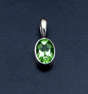Acleoni - Small Faceted Peridot & Sterling Silver Oval Pendant #18305B $60.00