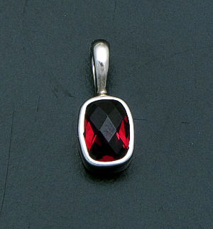acleoni - Small Faceted Rectangle Garnet & Sterling Silver Pendant #20127 $55.00