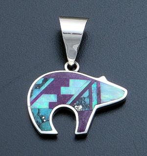 Supersmith Inc. - David Rosales Designs - Shalako Fancy Inlay & Sterling Silver Reversible Bear Pendant #22325 Style P258 $285.00