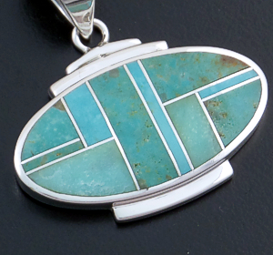 Supersmith Inc. - David Rosales Designs - Turquoise Valley Inlay & Sterling Silver Oval Pendant #22364 Style P229 $210.00