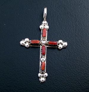 Zuni - Small Coral & Sterling Silver Beaded Cross Pendant #27784 $40.00