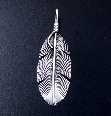 Lena Platero (Navajo) - Small Intricate Sterling Silver Feather Pendant #23613 $55.00