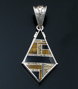 Supersmith Inc. - David Rosales Designs (Navajo) - Native Earth Inlay & Sterling Silver Large Beaded Angular Pendant #27268 Style P515 $360.00