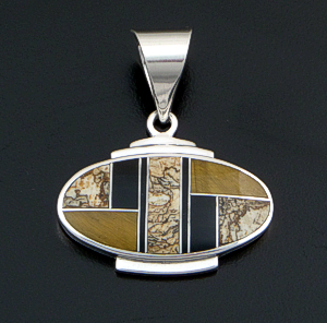 Supersmith Inc. - David Rosales Designs - Native Earth Inlay & Sterling Silver Oval Pendant #27703 Style P229 $210.00