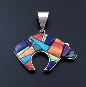 Supersmith Inc. - David Rosales Designs (Navajo) - Indian Summer Cobble Inlay & Sterling Silver Large Bear Pendant #27711A Style P259C $430.00