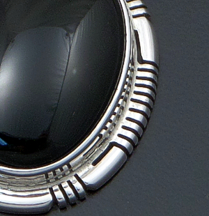 Navajo - Oval Black Onyx & Sterling Silver Cut & File Pendant #29637 $90.00