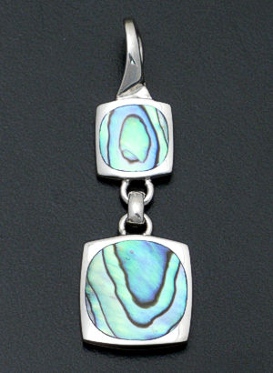 acleoni - Abalone Shell & Sterling Silver Double Square Pendant #30260 $90.00