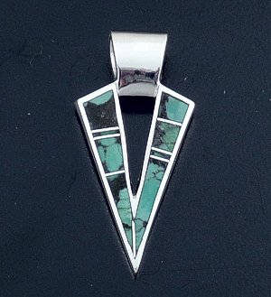 Supersmith Inc. - David Rosales Designs - Chapparal Inlay & Sterling Silver Arrowhead Pendant #31177 Style P088 $180.00