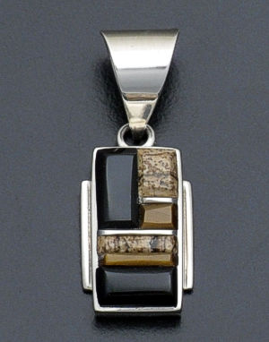 Supersmith Inc. - David Rosales Designs - Native Earth Rectangular Cobble Inlay & Sterling Silver Pendant #33067 Style P8002C $150.00