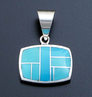Supersmith Inc. - David Rosales Designs - Arizona Blue Inlay & Sterling Silver Horizontal Rectangle Pendant #34550 Style P125 $210.00