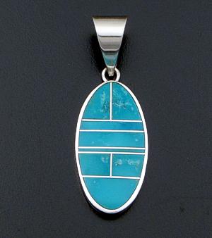Supersmith Inc. - David Rosales Designs (Navajo) - Arizona Blue Inlay & Sterling Silver Oval Pendant #34551 Style P329 $210.00