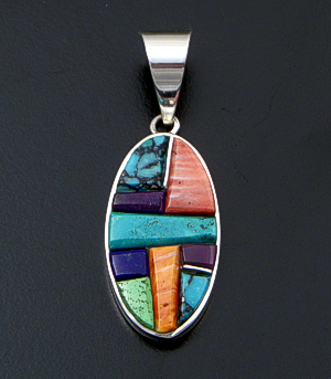 Supersmith Inc. - David Rosales Designs (Navajo) - Indian Summer Cobble Inlay & Sterling Silver Oval Pendant #34559 Style P329C $265.00