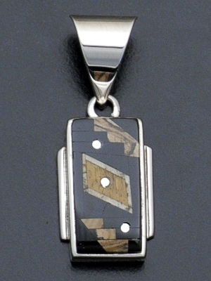Supersmith Inc. - David Rosales Designs - Native Earth Rectangular Inlay & Sterling Silver Pendant #34570 Style P8002F $175.00