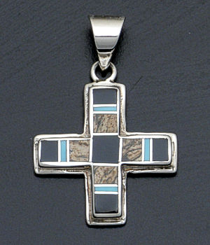 Supersmith Inc. - David Rosales Designs - Turquoise Creek Inlay & Sterling Silver Four Corners Pendant #34574 Style P181 $185.00
