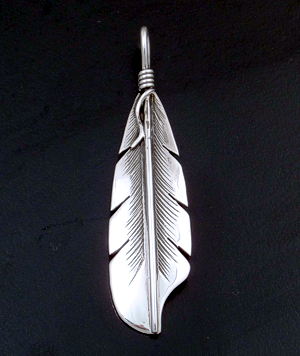 Lena Platero (Navajo) - Center Lined Intricate Sterling Silver Feather Pendant #34683 $75.00