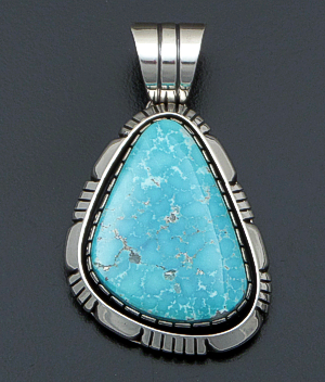 Delbert Vandever (Navajo) - Turquoise Mountain Turquoise & Sterling Silver Cut & File Pendant #36134 $335.00