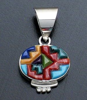 Supersmith Inc. - David Rosales Designs - Indian Summer Cobble Inlay & Sterling Silver Oval Pendant #37692 Style P230C $165.00
