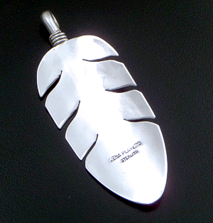 Lena Platero (Navajo) - Large Intricate Sterling Silver Feather Pendant #38014 $150.00
