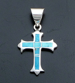 Supersmith Inc. - David Rosales Designs - Arizona Blue Watermark Sterling Silver Cross Pendant #38242 Style P381 $150.00