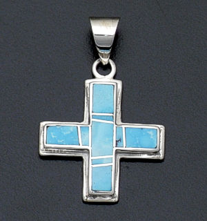 Supersmith Inc. - David Rosales Designs - Arizona Blue Reversible Sterling Silver Four Corners Pendant #38244 Style P181 $230.00