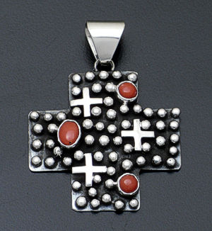 Ronnie Willie - Coral & Sterling Silver Beaded Four Corners Pendant #38297 $250.00