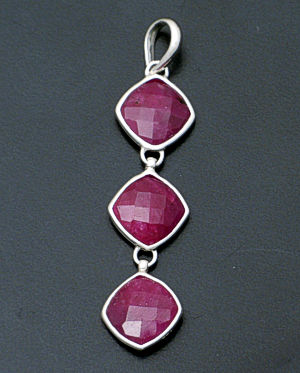 acleoni - Triple Ruby & Sterling Silver Square Pendant #38797 $150.00