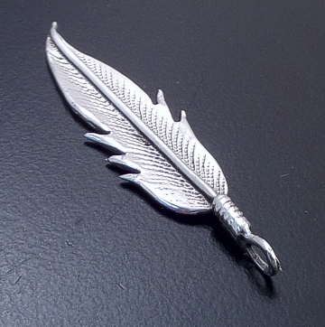 Louise Joe (Navajo) - Stamped Sterling Silver Feather Pendant #39253 $20.00