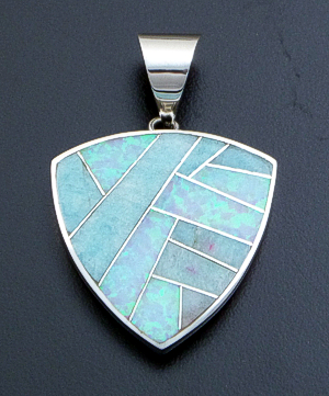 Supersmith Inc. - David Rosales Designs - Large Amazing Light Inlay & Sterling Silver Shield Pendant #39392 Style P546 $250.00