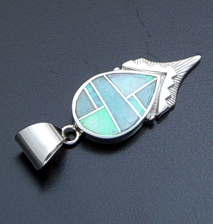 Supersmith Inc. - David Rosales Designs - Amazing Light Inlay & Sterling Silver Shield Pendant #39393 Style P292 $175.00