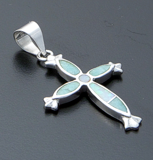 Supersmith Inc. - David Rosales Designs - Amazing Light Inlay & Sterling Silver Small Starburst Cross Pendant #39394 Style P207 $130.00