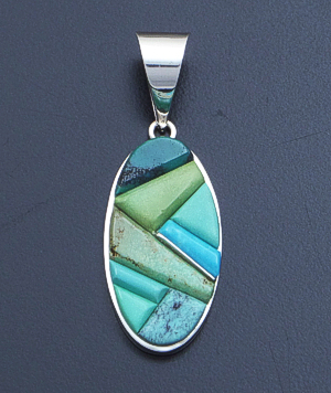 Supersmith Inc. - David Rosales Designs - Pine Hill Cobble Inlay & Sterling Silver Oval Pendant #39401 Style P329C $210.00