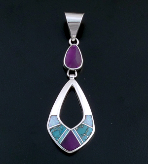 Supersmith Inc. - David Rosales Designs - Shalako Inlay & Sterling Silver Double Open Teardrop Pendant #39402 Style P209 220.00