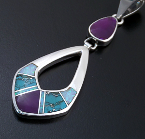 Supersmith Inc. - David Rosales Designs - Shalako Fancy Inlay & Sterling Silver Double Open Teardrop Pendant #39402 Style P209 220.00