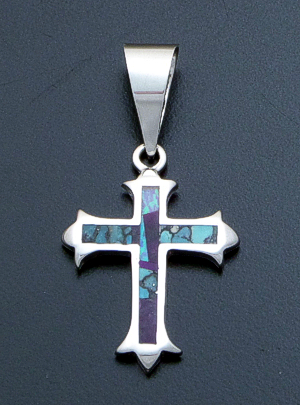 Supersmith Inc. - David Rosales Designs - Shalako Inlay & Sterling Silver Gothic Cross Pendant #39405 Style P381 $140.00