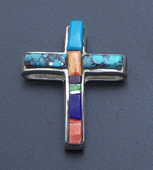 Supersmith Inc. - David Rosales Designs - Indian Summer Cobble Inlay & Sterling Silver Open Cross Pendant #39407 Style P840 $200.00
