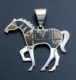 Supersmith Inc. - David Rosales Designs - Native Earth Inlay & Sterling Silver Large Horse Pendant #39409 Style P012 $330.00