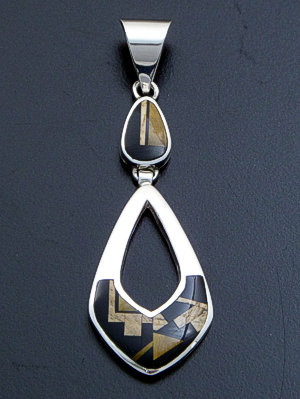 Supersmith Inc. - David Rosales Designs - Native Earth Inlay & Sterling Silver Two Piece Open Teardrop Pendant #39412 Style P209 $215.00