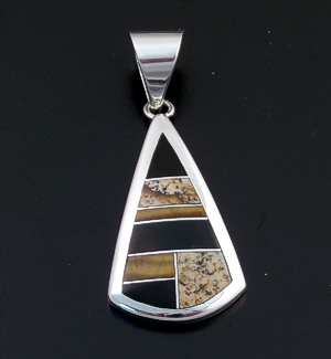 Supersmith Inc. - David Rosales Designs - Native Earth Inlay & Sterling Silver Teardrop Pendant #39413 Style P838 $185.00