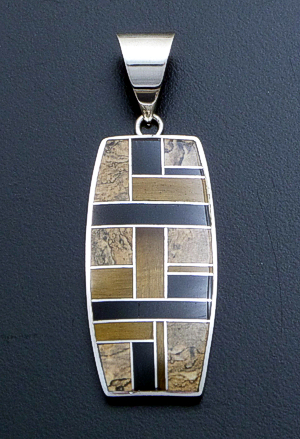 Supersmith Inc. - David Rosales Designs - Native Earth Inlay & Sterling Silver Large Rectangular Pendant #39414 Style P527 $365.00