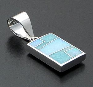 Supersmith Inc. - David Rosales Designs - Amazing Light Inlay & Sterling Silver Reversible Rectangular Kokopelli Pendant #40010 Style P038 $210.00
