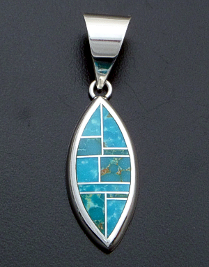 Supersmith Inc. - David Rosales Designs - Watermark Inlay & Sterling Silver Ellipse Pendant #40011 Style P635 $170.00