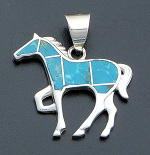 Supersmith Inc. - David Rosales Designs - Watermark Turquoise Inlay & Sterling Silver Small Horse Pendant #40012 Style P004 $200.00