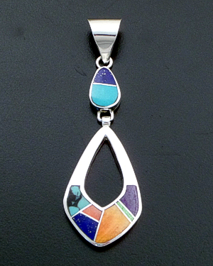 Supersmith Inc. - David Rosales Designs - Indian Summer Inlay & Sterling Silver Two Piece Teardrop Pendant #40013 Style P209 $195.00