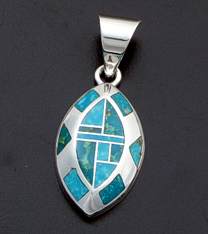 Supersmith Inc. - David Rosales Designs - Watermark Inlay & Sterling Silver Beveled Ellipse Pendant #40019 Style P645 $235.00