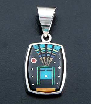 Supersmith Inc. - David Rosales Designs - Twilight Inlay & Sterling Silver Yei Pendant #40020 Style P225F $375.00