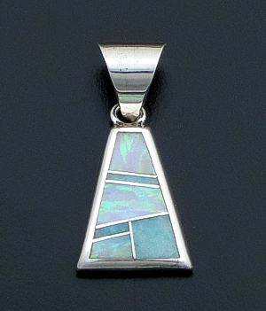 Supersmith Inc. - David Rosales Designs - Amazing Light Inlay & Sterling Silver Triangular Pendant #40021 Style P629 $145.00