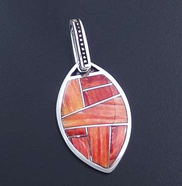 Supersmith Inc. - David Rosales Designs (Navajo) - Desert Fire Inlay & Sterling Silver Textured Rectangle Pendant #40271 Style P151 $210.00