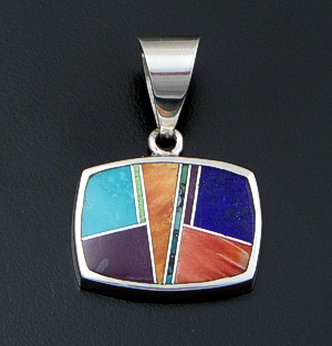 Supersmith Inc. - David Rosales Designs (Navajo) - Indian Summer Inlay & Sterling Silver Horizontal Rectangle Pendant #41163 Style P125 $230.00
