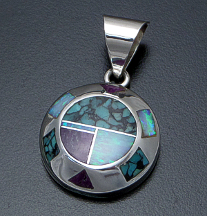 Supersmith Inc. - David Rosales Designs - Shalako Inlay & Sterling Silver Beveled Circle Pendant #41165 Style P642 $235.00